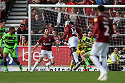 Northampton Towns Aaron Pierre(16) heads the ball scores a goal 1-1 during the EFL Sky Bet League 2 match between Northampton Town and Forest Green Rovers at Sixfields Stadium, Northampton, England on 13 October 2018.