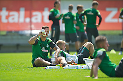 12.07.2013, Parkstadion, Zell am Ziller, AUT, SV Werder Bremen Trainingslager, im Bild Marko Arnautovic (SV Werder Bremen #7) beim Trinken nach dem abschliessenden Intervallsuf, dahinter Aaron Hunt (Bremen #14) // during a Trainingsession of German Bundesliga Club SV Werder Bremen at the Parkstadium, Zell am Ziller, Austria on 2013/07/12. EXPA Pictures © 2013, PhotoCredit: EXPA/ Andreas Gumz<br /> <br /> ***** ATTENTION - OUT OF GER *****
