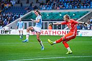 Manchester City Women midfielder Jill Scott (8) blocks Birmingham City Women goalkeeper Hannah Hampton (1) clearance during the FA Women's Super League match between Manchester City Women and BIrmingham City Women at the Sport City Academy Stadium, Manchester, United Kingdom on 12 October 2019.