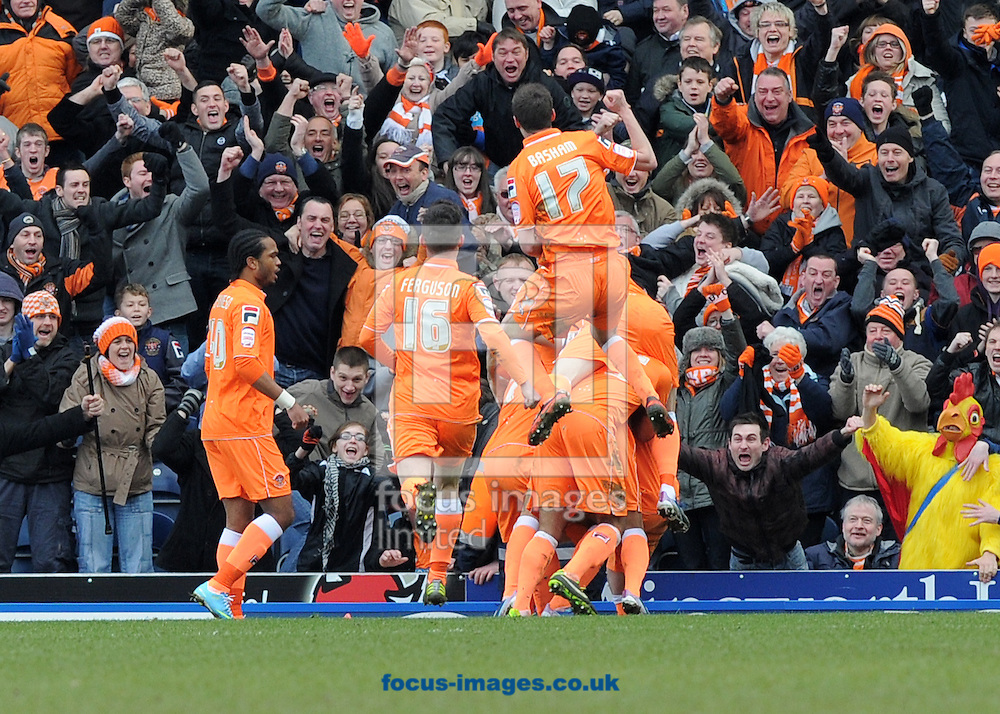 Picture by Alan Wright/Focus Images Ltd 07733 196489.29/03/2013.Gary MacKenzie  of Blackpool celebrates scoring the 1st goal with team mates against Blackburn Rovers during the npower Championship league match at Ewood Park, Blackburn..