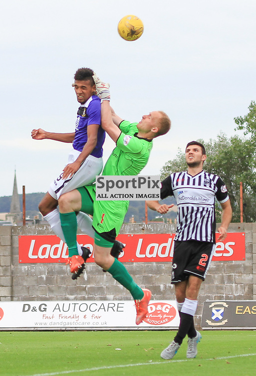 East Fife V Elgin Scottish League Two 22 August 2015;  East Fife's Nathan Austin beats Elgin's Mark Hurst in the air during the East Fife V Elgin City Scottish League Two match played at Bayview Stadium, Methill.