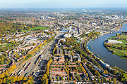 Nederland, Gelderland, Arnhem, 24-10-2013;  binnenstad Arnhem met rangeerterrein en de Neder-Rijn.<br /> Arnhem city with railway yard and river Rhine.<br /> luchtfoto (toeslag op standaard tarieven);<br /> aerial photo (additional fee required);<br /> copyright foto/photo Siebe Swart.