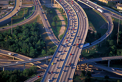 Aerial view of an elevated freeway interchange in Houston Texas