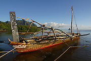 Outrigger Sailing Canoe, Kaneohe Bay, Oahu, Hawaii, USA<br />