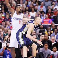01 February 2014: Utah Jazz center Rudy Gobert (27) defends on Los Angeles Clippers center DeAndre Jordan (6) during the Los Angeles Clippers 102-87 victory over the Utah Jazz at the Staples Center, Los Angeles, California, USA.