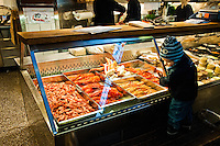 Fish and other seafood at Östermalms Saluhall at Östermalmstorg