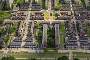 Nederland, Zuid-Holland, Rotterdam, 15-07-2012; Pendrecht (deelgemeente Charlois, Rotterdam-Zuid). Herkingestraat en omgeving..Nieuwbouwwijk uit de jaren vijftig van de vorige eeuw, wederopbouw periode. Stedenbouwkundig ontwerp van Lotte Stam-Beese, kenmerkend zijn de ruime opzet en  veel groen. Ontworpen als wijk met verschillende woningtypen (en verschillende bewoners) en voorzien van alle voorzieningen..Pendrecht (part of Charlois, Rotterdam-South). New neighborhood (fifties of the last century), post-war reconstruction period. Urban design of Lotte Stam-Beese, characterized by spacious layout and lots of green. Designed as residential district with different housing types...luchtfoto (toeslag), aerial photo (additional fee required).foto/photo Siebe Swart