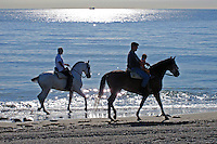 Riders on the Mediterranean shore at San Pedro de Alcantara, Malaga Province, Spain, 200911230115..Copyright Image from Victor Patterson, 54 Dorchester Park, Belfast, UK, BT9 6RJ..Tel: +44 28 9066 1296.Mob: +44 7802 353836.Voicemail +44 20 8816 7153.Skype: victorpattersonbelfast.Email: victorpatterson@mac.com.Email: victorpatterson@ireland.com (back-up)..IMPORTANT: If you wish to use this image or any other of my images please go to www.victorpatterson.com and click on the Terms & Conditions. Then contact me by email or phone with the reference number(s) of the image(s) concerned.