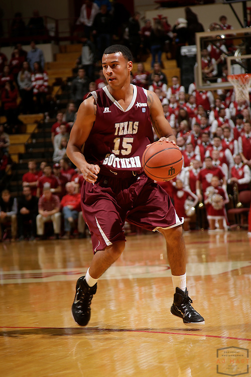 Texas Southern guard David Blanks (15) as Texas Southern University played Indiana in an NCCA college basketball game, Monday, Nov. 17, 2014 in Bloomington, Ind.. (AJ Mast /Photo)