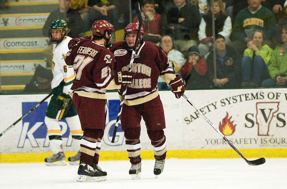 10 January 2009: Eagles forward Benn Ferriero #21 and Eagles forward Ben Smith #12 celebrate a goal during the Vermont Catamounts win 4-2 over the Boston College Eagles at Gutterson Fieldhouse in Burlington, Vermont.