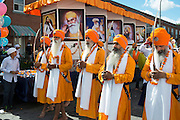 Traditionally, the procession is led by the saffron-robed Panj Piare (the five beloved of the Guru), who are followed by the Guru Granth Sahib, the holy Sikh scripture, which is placed on a float.