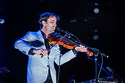 Brooklyn, NY - 28 July 2017. A crowd estimated at 9,000 filled the Prospect Park Bandshell, with an estimated 3,000 outside the fence, for a concert by Esperanza Spalding and Andrew Bird at the BRIC Celebrate Brooklyn! Festival. Andrew Bird on stage.