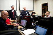 Dallas County Judge Clay Jenkins speaks with team members at the Emergency Operations Center (EOC) on October 9, 2014, in Dallas. (Cooper Neill for The New York Times)