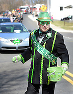 Lee Ford, a Mummers comic division member, participates in the 2nd annual Pennridge St Patrick's Day Parade and Celtic Festival Saturday March 12, 2016 in Sellersville, Pennsylvania. (Photo by William Thomas Cain)