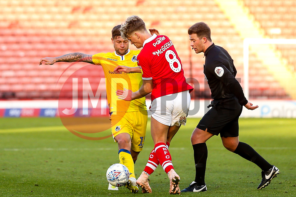 James Clarke of Bristol Rovers challenges Cameron McGeehan of Barnsley to a drop ball - Mandatory by-line: Robbie Stephenson/JMP - 27/10/2018 - FOOTBALL - Oakwell Stadium - Barnsley, England - Barnsley v Bristol Rovers - Sky Bet League One