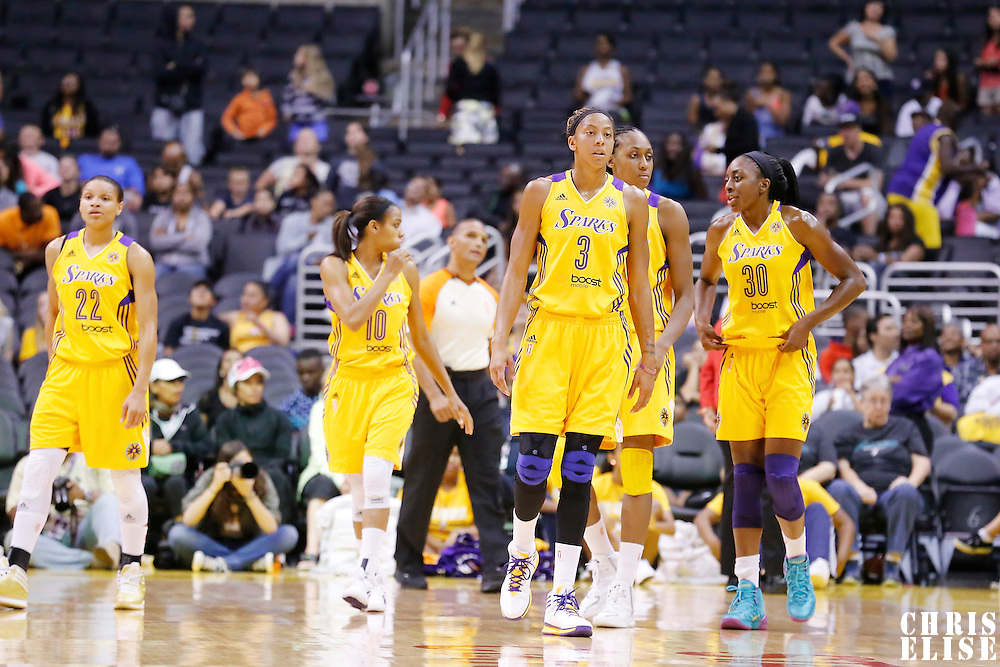 22 June 2014: guard/forward Armintie Herrington (22) of the Los Angeles Sparks, guard Lindsey Harding (10) of the Los Angeles Sparks, forward/center Candace Parker (3) of the Los Angeles Sparks, forward/center Sandrine Gruda (7) of the Los Angeles Sparks and forward Nneka Ogwumike (30) of the Los Angeles Sparks are seen during the San Antonio Stars 72-69 victory over the Los Angeles Sparks, at the Staples Center, Los Angeles, California, USA.