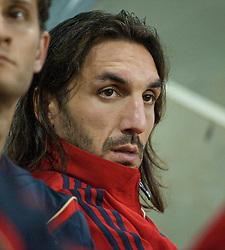 LEIGH, ENGLAND - Thursday, August 27, 2009: Liverpool's new signing Sotirios Kyrgiakos on the bench as the Reserves take on Blackburn Rovers Reserves at the Leigh Sports Village. (Photo by Bernard Platt/Propaganda)