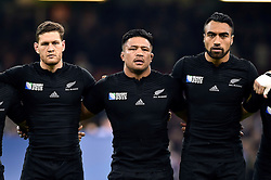 Tawera Kerr-Barlow, Keven Mealamu and Victor Vito of New Zealand look on during the anthems - Mandatory byline: Patrick Khachfe/JMP - 07966 386802 - 02/10/2015 - RUGBY UNION - Millennium Stadium - Cardiff, Wales - New Zealand v Georgia - Rugby World Cup 2015 Pool C.