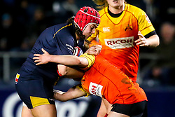 Carys Phillips of Worcester Warriors Women is tackled - Mandatory by-line: Robbie Stephenson/JMP - 11/01/2020 - RUGBY - Sixways Stadium - Worcester, England - Worcester Warriors Women v Richmond Women - Tyrrells Premier 15s