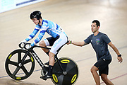 Sam Webster with Myron Simpson during the 2019 Vantage Elite and U19 Track Cycling National Championships at the Avantidrome in Cambridge, New Zealand on Friday, 08 February 2019. ( Mandatory Photo Credit: Dianne Manson )