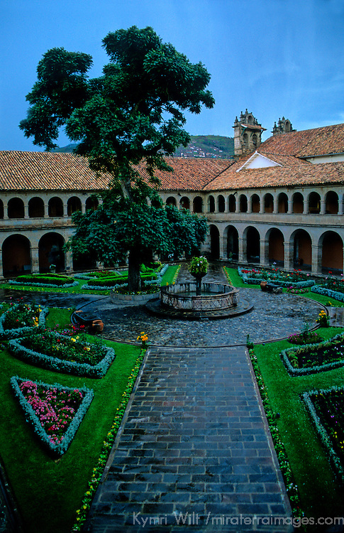 South America, Peru, Cusco. Hotel Monasterio courtyard