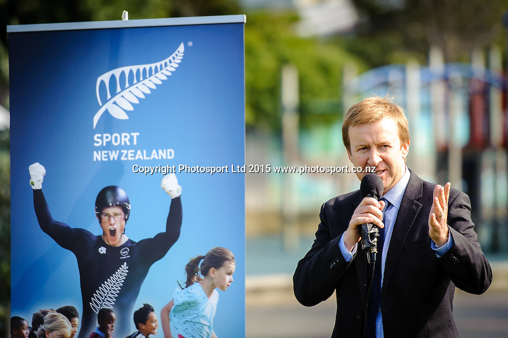 Sports Minister Hon Dr Jonathan Coleman speaks at Sport NZ Strategy Launch, Lyall Bay School, Wellington, New Zealand. Friday 20 March 2015. Copyright Photo: Mark Tantrum/www.Photosport.co.nz
