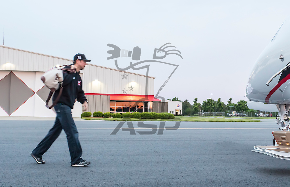 Concord, NC - May 18, 2014:  After finishing in 11th at the Sprint All Star Race, Kurt Busch (26) takes off at Concord Regional Airport to fly back to Indianapolis Motor Speedway for second round qualifying for the Indianapolis 500 IndyCar race in Indianapolis, IN.  <br /> <br /> MANDATORY PHOTO CREDIT:  Walter G. Arce, Sr. KBI/ActionSportsInc.com