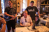 David Duke slips away from protesters who ran him out of Jackson Square into the Onmi Royal Orleans hotel. He seated himself in the Rib Room which wasnt open yet, where the staff refused to serve him so he retreated to the bar .