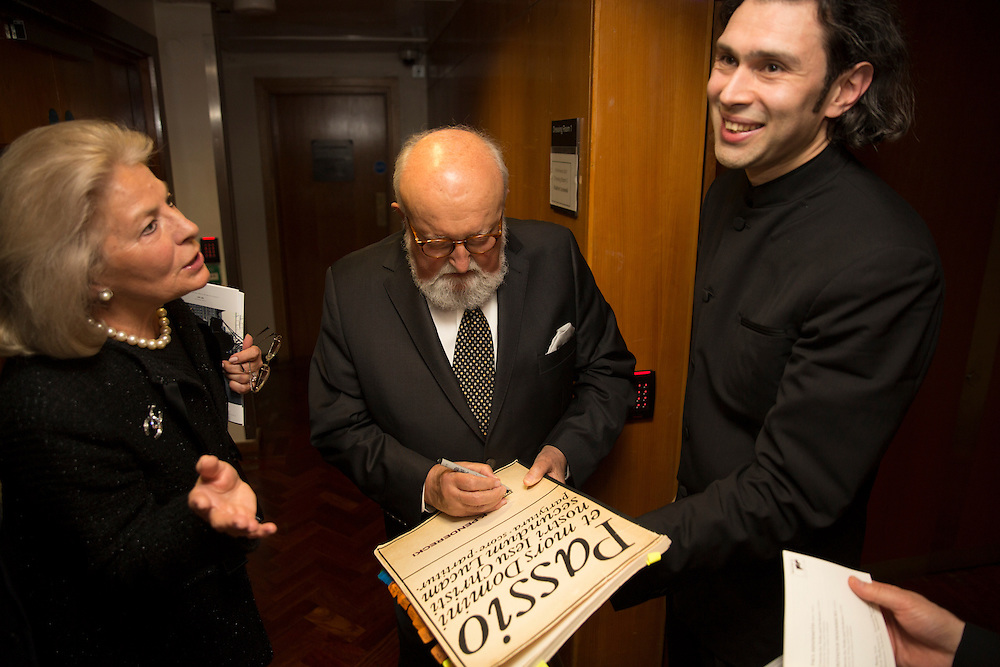 Polish composer Krzysztof Penderecki backstage signing the score for Vladimir Jurowski
