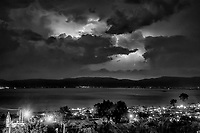 Lightning storm at night over Lake Chapala San Juan Cosala, Jalisco, Mexico