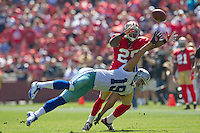 18 September 2011: Cornerback (25) Tarell Brown of the San Francisco 49ers breaks up a pass intended for (19) Mile Austin of the Dallas Cowboys during the first half of the Cowboys 27-24 overtime victory against the 49ers in an NFL football game at Candlestick Park in San Francisco, CA