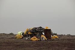 USA ALASKA  ST GEORGE ISLAND 7JUL12 - Recovered marine debris lies stored on the island of St. George in the Bering Sea, Alaska.......Photo by Jiri Rezac / Greenpeace....© Jiri Rezac / Greenpeace