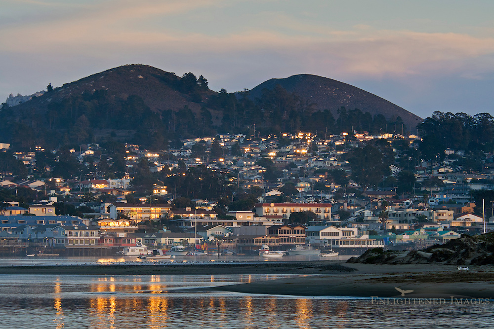Sunset light reflected in windows at Morro Bay, California
