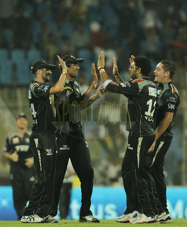 Pune Warriors celebrates during  match 10 of the Indian Premier League ( IPL ) Season 4 between the Pune Warriors and the Kochi Tuskers Kerala held at the Dr DY Patil Sports Academy, Mumbai India on the 13th April 2011..Photo by BCCI/SPORTZPICS