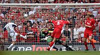 Photo: Daniel Hambury.<br /> Liverpool v West Ham United. The FA Cup Final. 13/05/2006.<br /> Liverpool's Steven Gerrard (C) scores to make it 2-2.