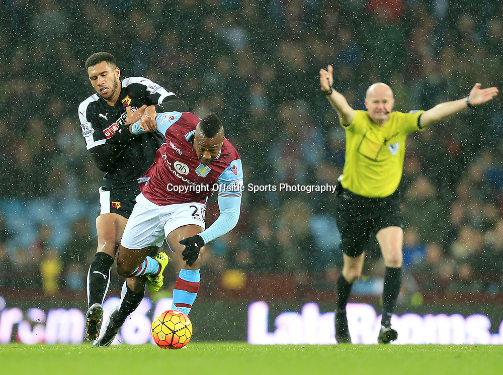 28th November 2015 - Barclays Premier League - Aston Villa v Watford -   Adama Traore of Aston Villa tries to get away from Almen Abdi of Watford - Photo: Paul Roberts / Offside.