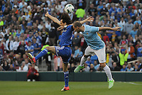 Football - Premier League - Chelsea Training for friendly with Man City St. Louis, MO/USA. Manchester City won, 4-3 over Chelsea.  Chelsea midfielder Yossi Benayoun (30, left) and Manchester City defender Pablo Javier Zabaleta ( 5) both leap for a ball in the air in first half action...