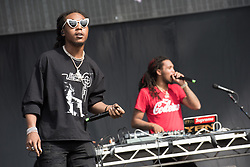© Licensed to London News Pictures. 26/08/2017. Reading Festival 2017, Reading, UK. Migos an American hip-hop trio.  Pictured: Takeoff.  Photo credit: Andy Sturmey/LNP