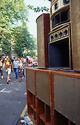 Sound system speakers in the street, Notting Hill Carnival, London, 2003