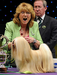 © Licensed to London News Pictures. 11/03/2012. Margaret Anderson and her Lhasa Apso, Elizabeth shows a look of shock as she is presented to the national and international press to be photographed. Margaret and Elizabeth were awarded the 2012 Best in Show at Crufts dog show held in the Birmingham NEC Arena.   Photo credit: Alison Baskerville/LNP