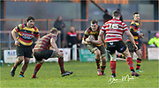 Carmarthen Quins' second row Haydn Pugh (Capt.) looks to break through the Llandovery defence.<br /> <br /> Photographer: Dan Minto<br /> <br /> Indigo Welsh Premiership Rugby - Round 12 - Llandovery RFC v Carmarthen Quins RFC - Saturday 28th December 2019 - Church Bank, Llandovery, South Wales, UK.<br /> <br /> World Copyright © Dan Minto Photography<br /> <br /> mail@danmintophotography.com <br /> www.danmintophotography.com