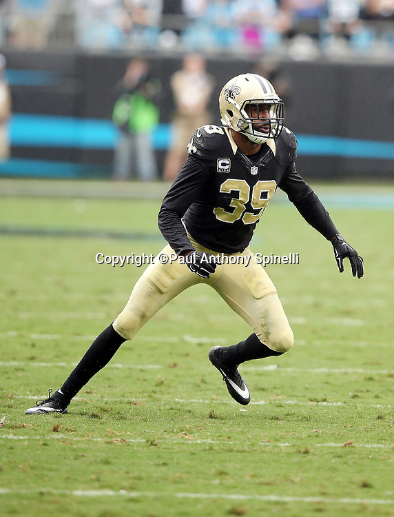 New Orleans Saints cornerback Brandon Browner (39) chases the action during the 2015 NFL week 3 regular season football game against the Carolina Panthers on Sunday, Sept. 27, 2015 in Charlotte, N.C. The Panthers won the game 27-22. (©Paul Anthony Spinelli)