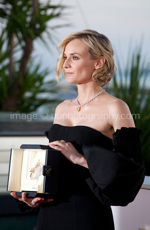 Actress Diane Kruger, winning the award for best actress for her part in the film In The Fade (Aus Dem Nichts), at the Award Winner's Photocall at the 70th Cannes Film Festival Saturday 27th May 2017, Cannes, France. Photo credit: Doreen Kennedy