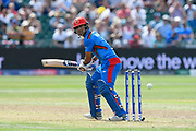 Najibullah Zadran of Afghanistan batting during the ICC Cricket World Cup 2019 match between Afghanistan and Australia at the Bristol County Ground, Bristol, United Kingdom on 1 June 2019.