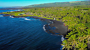 Kahena Black Sand Beach, Puna, Island of Hawaii, Hawaii