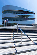 Exterior of Mercedes-Benz museum gallery in Mercedesstrasse in Stuttgart, Bavaria, Germany