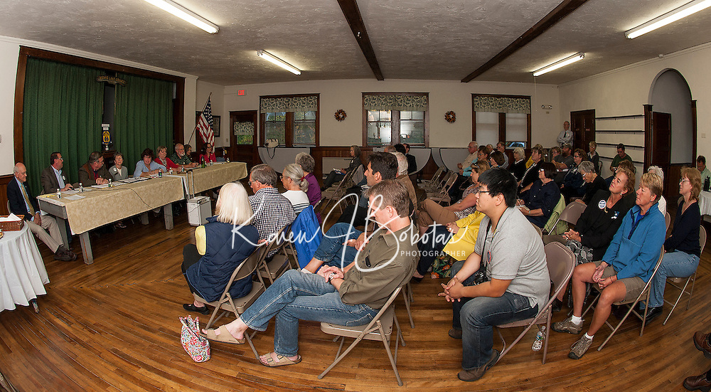 Voters listened as the House of Representatives Candidate's for Belknap County District 2 participated in a question and answer forum hosted by the Wicwas Lake Grange Wednesday evening.  (Karen Bobotas/for the Laconia Daily Sun)