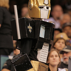2008 October, 06: A New Orleans Saints fan dressed as a black and gold Optimus Prime from Transformers during a week five regular season game between the Minnesota Vikings and the New Orleans Saints for Monday Night Football at the Louisiana Superdome in New Orleans, LA.