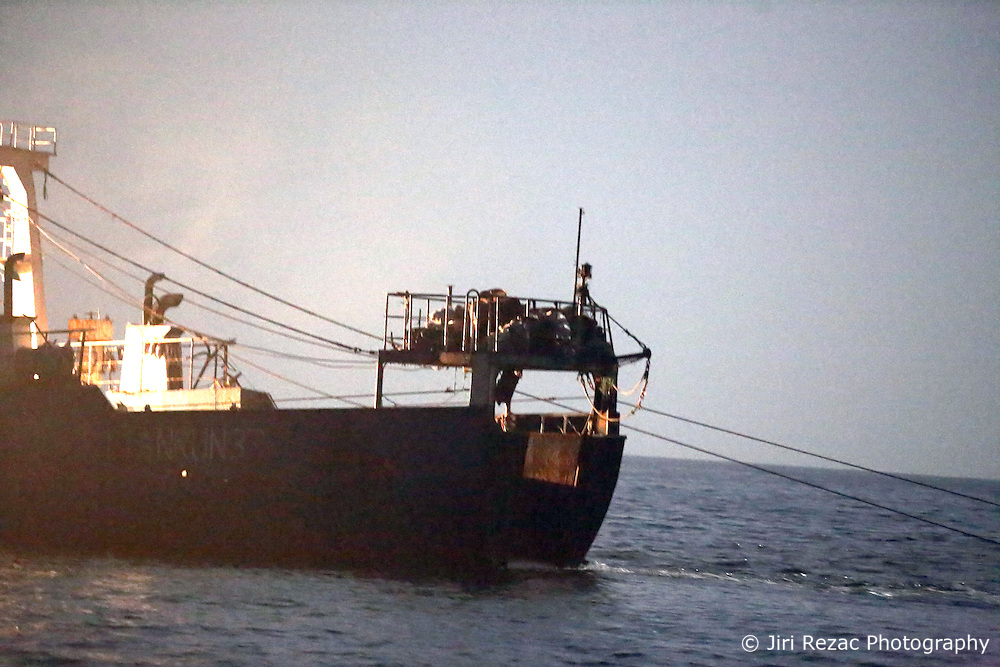 ATLANTIC OCEAN 7NOV14 - Fishing activities in the Atlantic Ocean off the coast of Guinea-Conakry. Stern trawler Lian Run 33, callsign BECD2, seen fishing at night near the 12 nautical mile boundary.<br /> <br /> jre/Photo by Jiri Rezac / Greenpeace<br /> <br /> <br /> © Jiri Rezac 2014