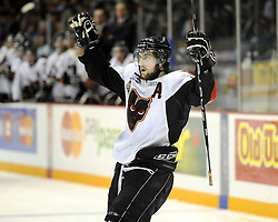 Joel Broda of the Calgary Hitmen in Game 2 of the 2010 MasterCard Memorial Cup in Brandon, MB on Saturday May 15, 2010. Photo by Aaron Bell/CHL Images